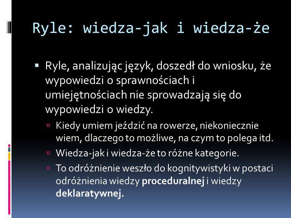 Ryle: wiedza-jak i wiedza-że  Ryle, analizując język, doszedł do wniosku, że wypowiedzi o sprawnościach i umiejętnościach nie sprowadzają się do wypowiedzi o wiedzy.