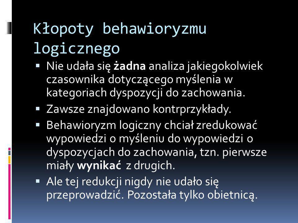Kłopoty behawioryzmu logicznego  Nie udała się żadna analiza jakiegokolwiek czasownika dotyczącego myślenia w kategoriach dyspozycji do zachowania.