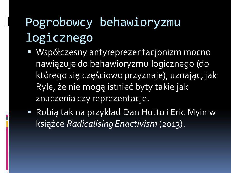 Pogrobowcy behawioryzmu logicznego  Współczesny antyreprezentacjonizm mocno nawiązuje do behawioryzmu logicznego (do którego się częściowo przyznaje), uznając, jak Ryle, że nie mogą istnieć byty takie jak znaczenia czy reprezentacje.
