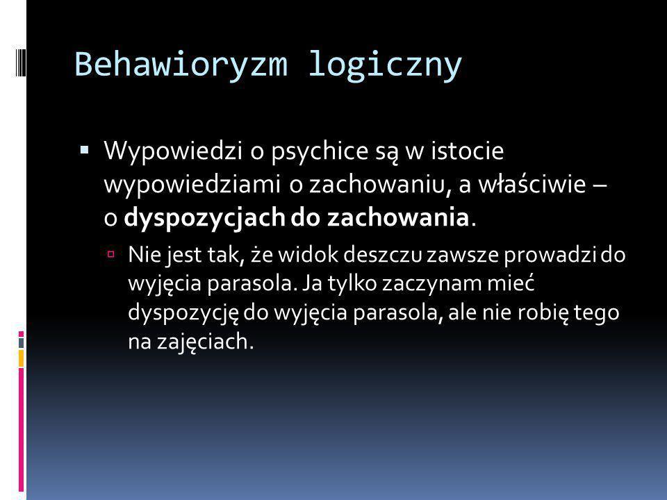 Klasyczna teoria znaczenia wyrażeń psychologicznych 1.