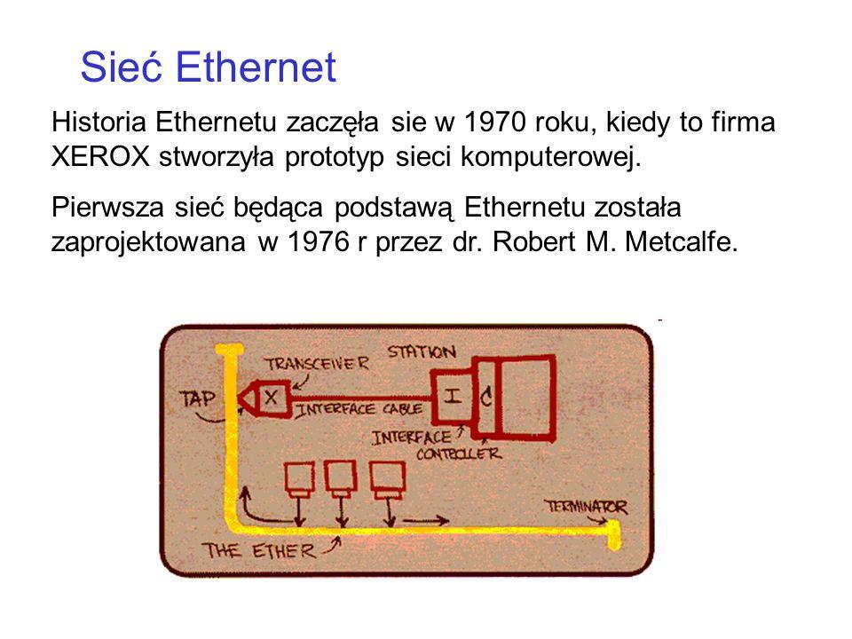 Historia Ethernetu zaczęła sie w 1970 roku, kiedy to firma XEROX stworzyła prototyp sieci komputerowej. Pierwsza sieć będąca podstawą Ethernetu został