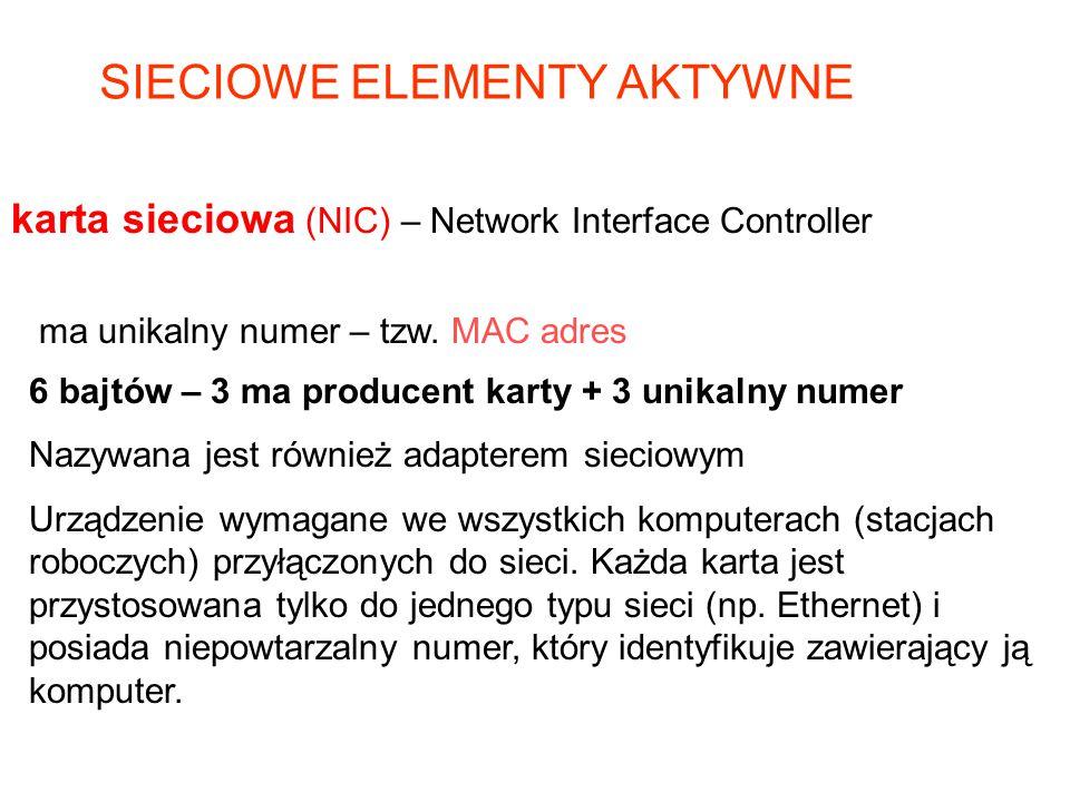 ma unikalny numer – tzw. MAC adres 6 bajtów – 3 ma producent karty + 3 unikalny numer Nazywana jest również adapterem sieciowym Urządzenie wymagane we