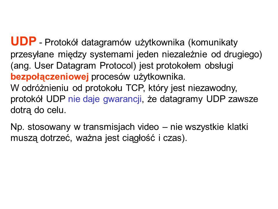 UDP - Protokół datagramów użytkownika (komunikaty przesyłane między systemami jeden niezależnie od drugiego) (ang. User Datagram Protocol) jest protok