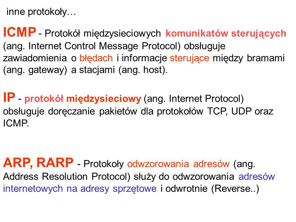 IP - protokół międzysieciowy (ang. Internet Protocol) obsługuje doręczanie pakietów dla protokołów TCP, UDP oraz ICMP. ARP, RARP - Protokoły odwzorowa