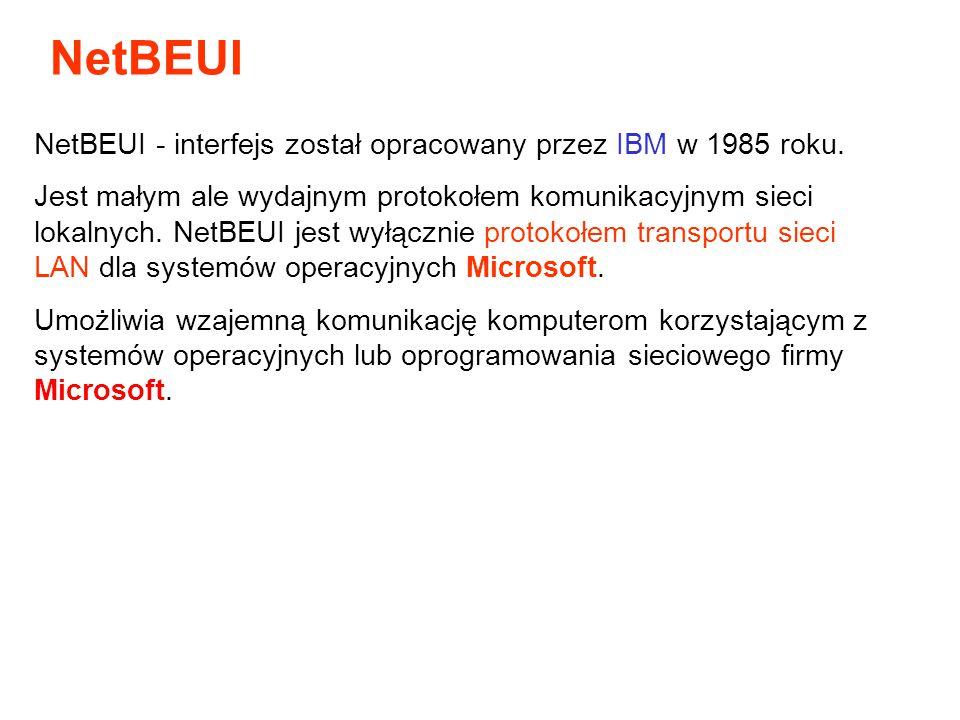 NetBEUI - interfejs został opracowany przez IBM w 1985 roku. Jest małym ale wydajnym protokołem komunikacyjnym sieci lokalnych. NetBEUI jest wyłącznie