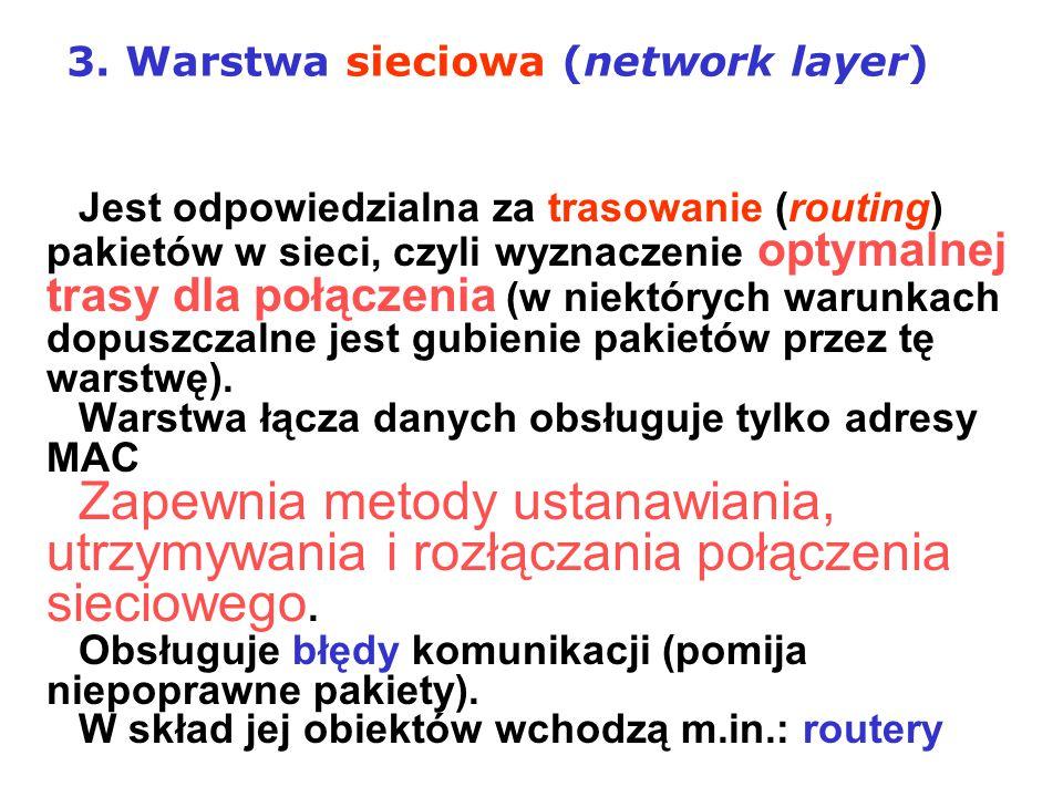 Jest odpowiedzialna za trasowanie (routing) pakietów w sieci, czyli wyznaczenie optymalnej trasy dla połączenia (w niektórych warunkach dopuszczalne j