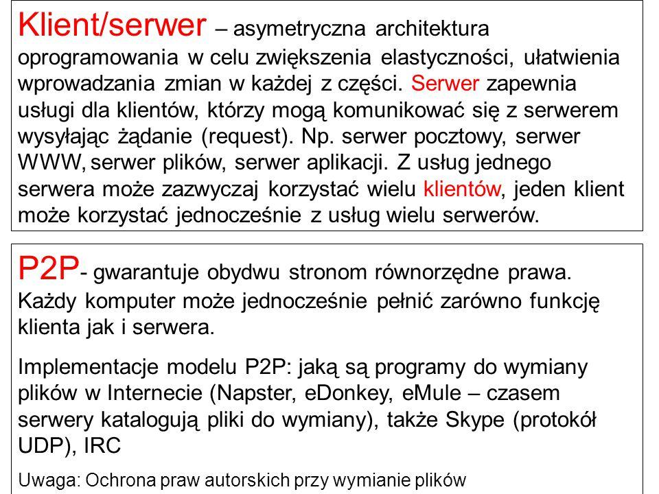 P2P - gwarantuje obydwu stronom równorzędne prawa. Każdy komputer może jednocześnie pełnić zarówno funkcję klienta jak i serwera. Implementacje modelu