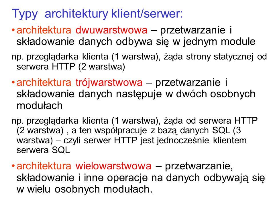 architektura dwuwarstwowa – przetwarzanie i składowanie danych odbywa się w jednym module np. przeglądarka klienta (1 warstwa), żąda strony statycznej