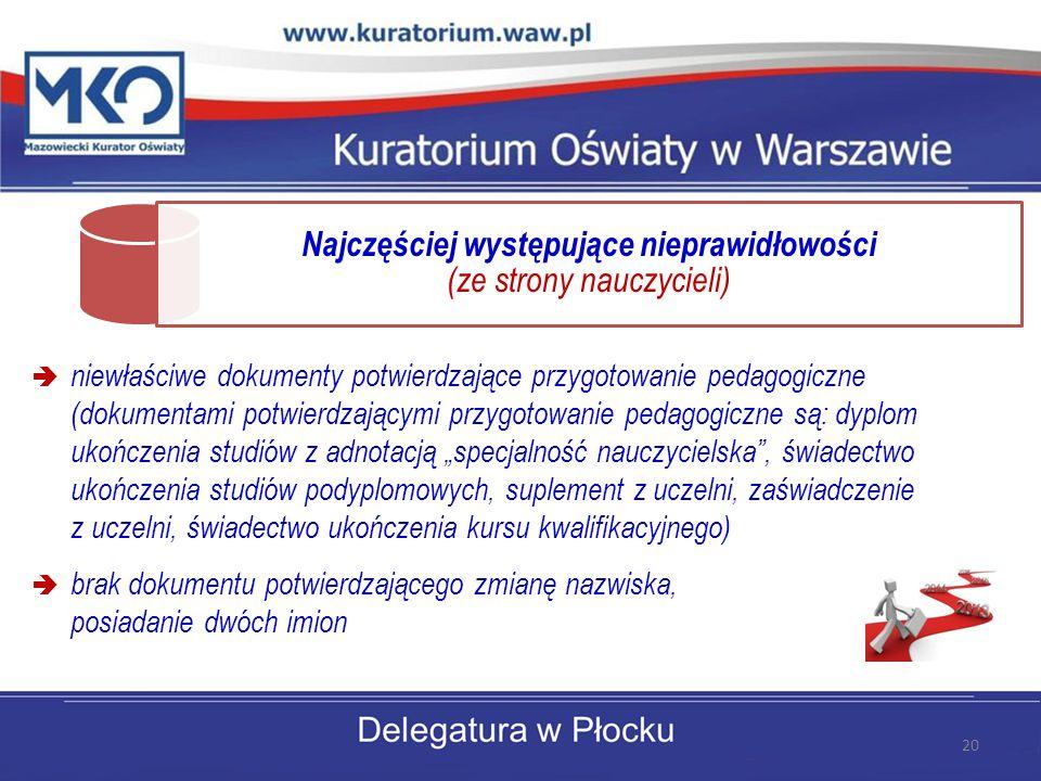 Najczęściej występujące nieprawidłowości (ze strony nauczycieli)  niewłaściwe dokumenty potwierdzające przygotowanie pedagogiczne (dokumentami potwie