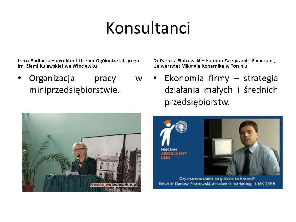 Konsultanci Irena Podłucka – dyrektor I Liceum Ogólnokształcącego im.