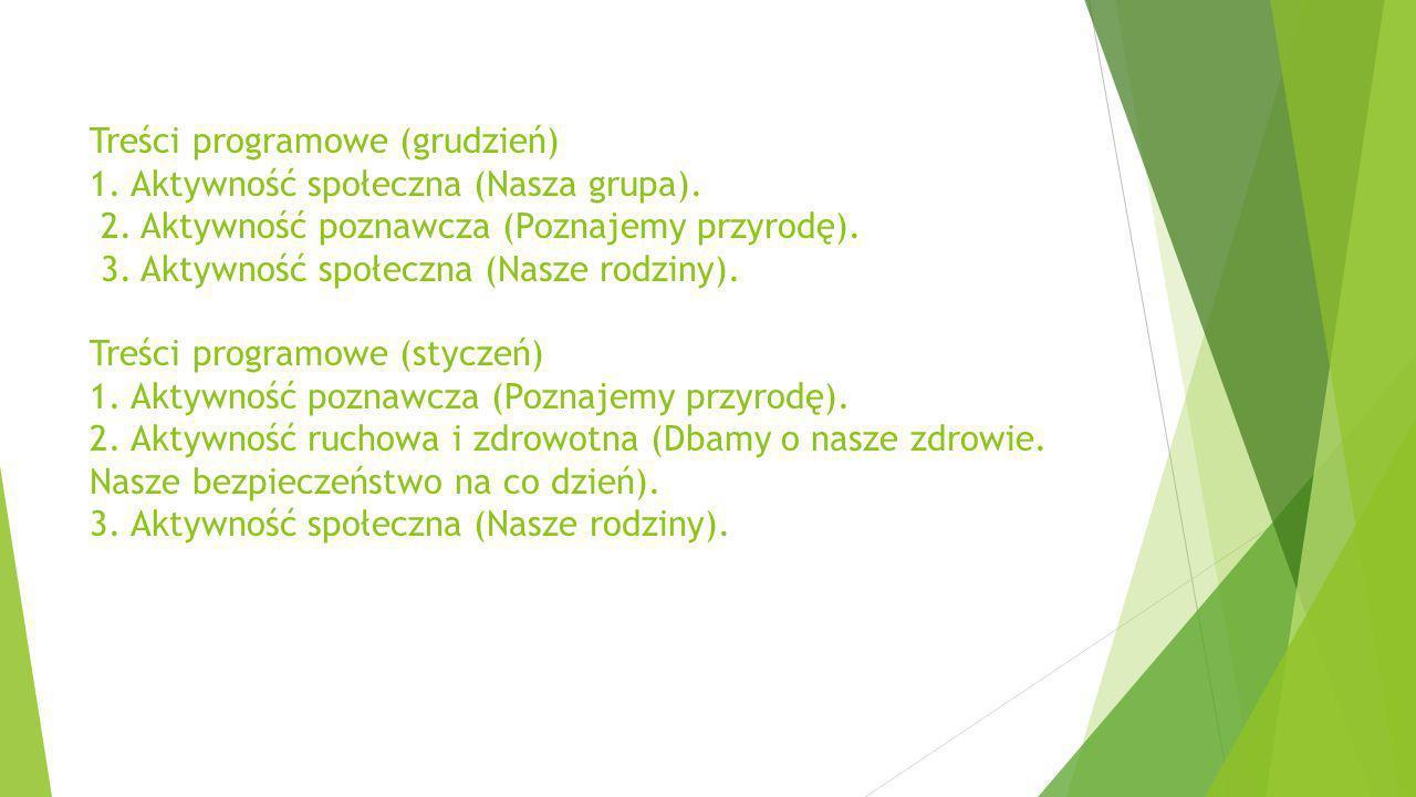 Treści programowe (grudzień) 1. Aktywność społeczna (Nasza grupa). 2. Aktywność poznawcza (Poznajemy przyrodę). 3. Aktywność społeczna (Nasze rodziny)