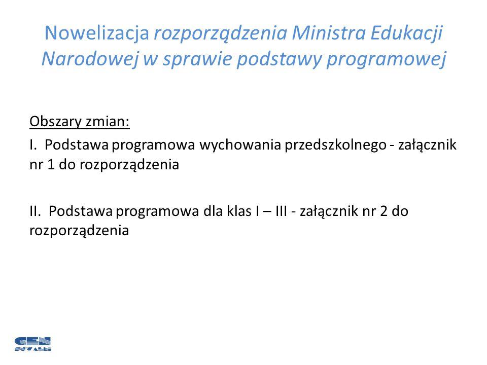 Nowelizacja rozporządzenia Ministra Edukacji Narodowej w sprawie podstawy programowej I.