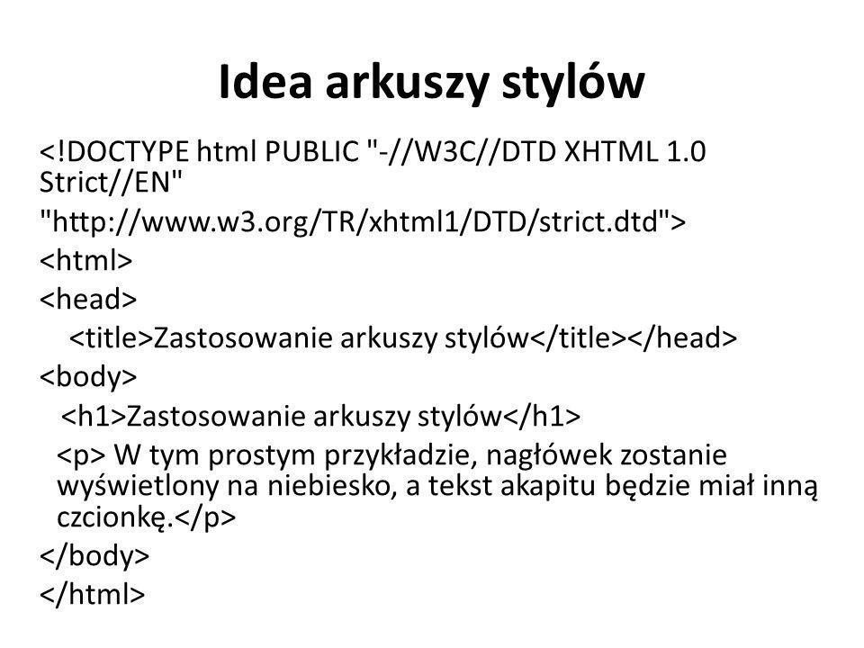 Idea arkuszy stylów <!DOCTYPE html PUBLIC