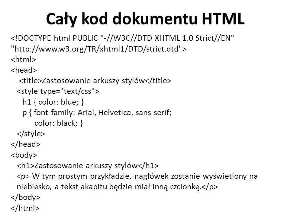 Cały kod dokumentu HTML <!DOCTYPE html PUBLIC