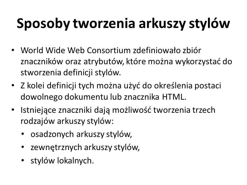 Sposoby tworzenia arkuszy stylów World Wide Web Consortium zdefiniowało zbiór znaczników oraz atrybutów, które można wykorzystać do stworzenia definic