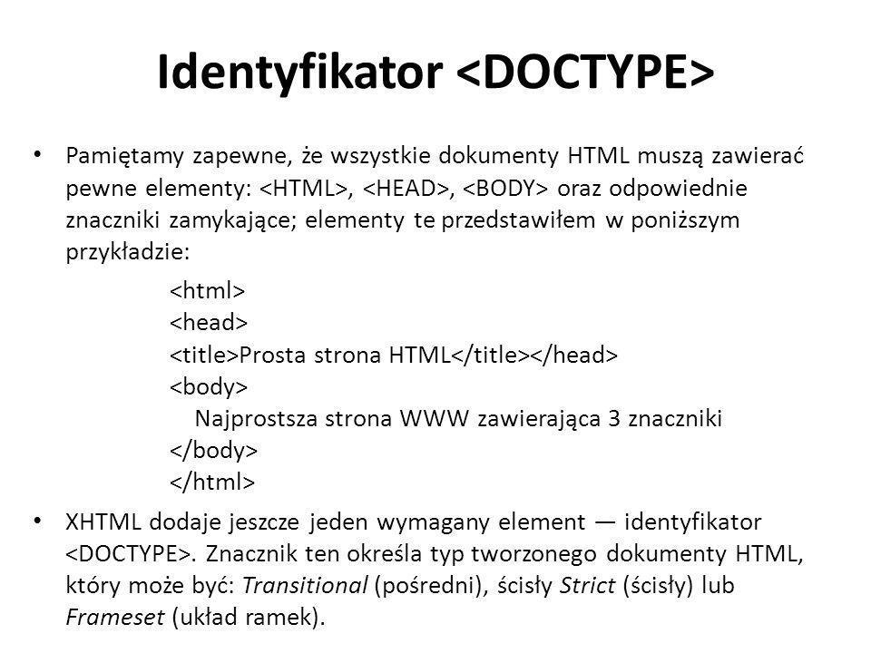 Identyfikator Pamiętamy zapewne, że wszystkie dokumenty HTML muszą zawierać pewne elementy:,, oraz odpowiednie znaczniki zamykające; elementy te przed