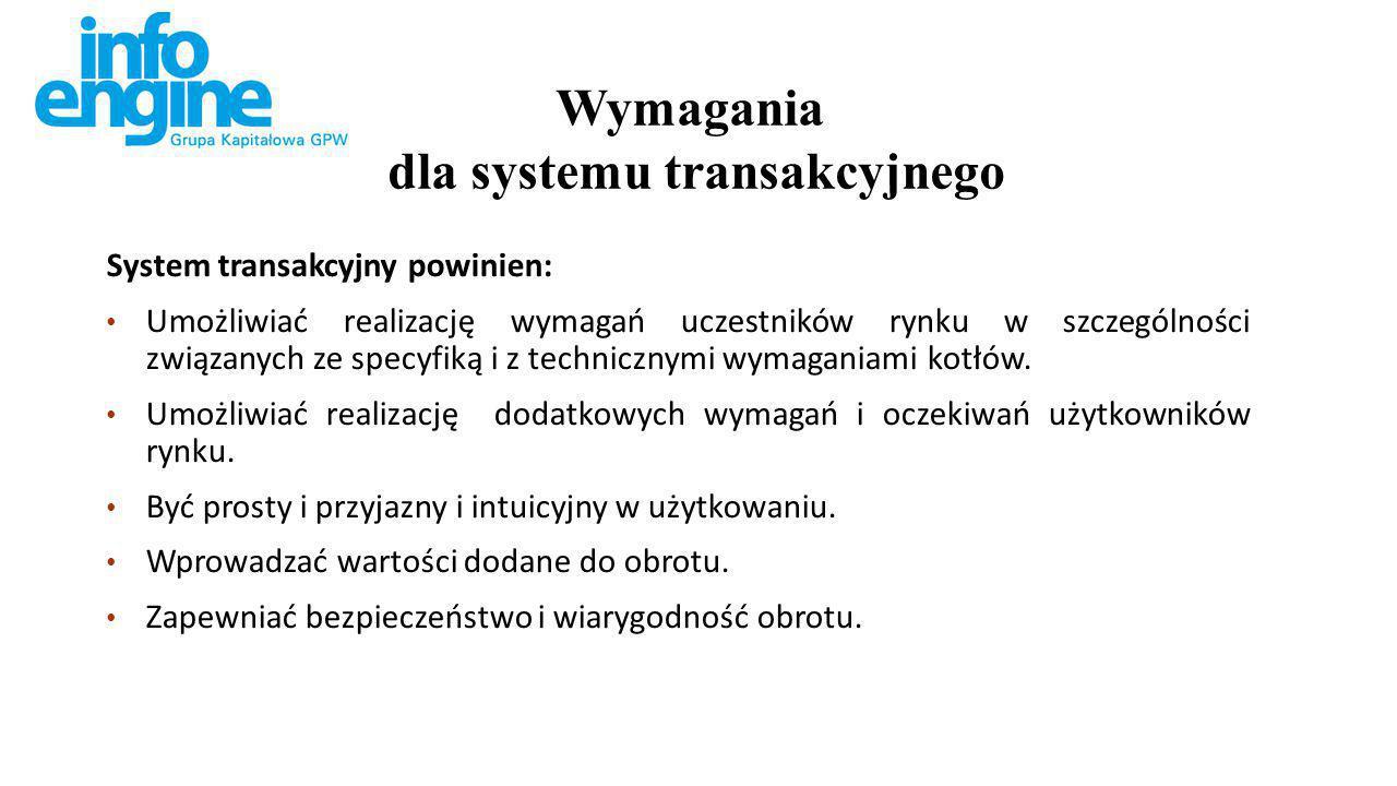 System transakcyjny powinien: Umożliwiać realizację wymagań uczestników rynku w szczególności związanych ze specyfiką i z technicznymi wymaganiami kotłów.
