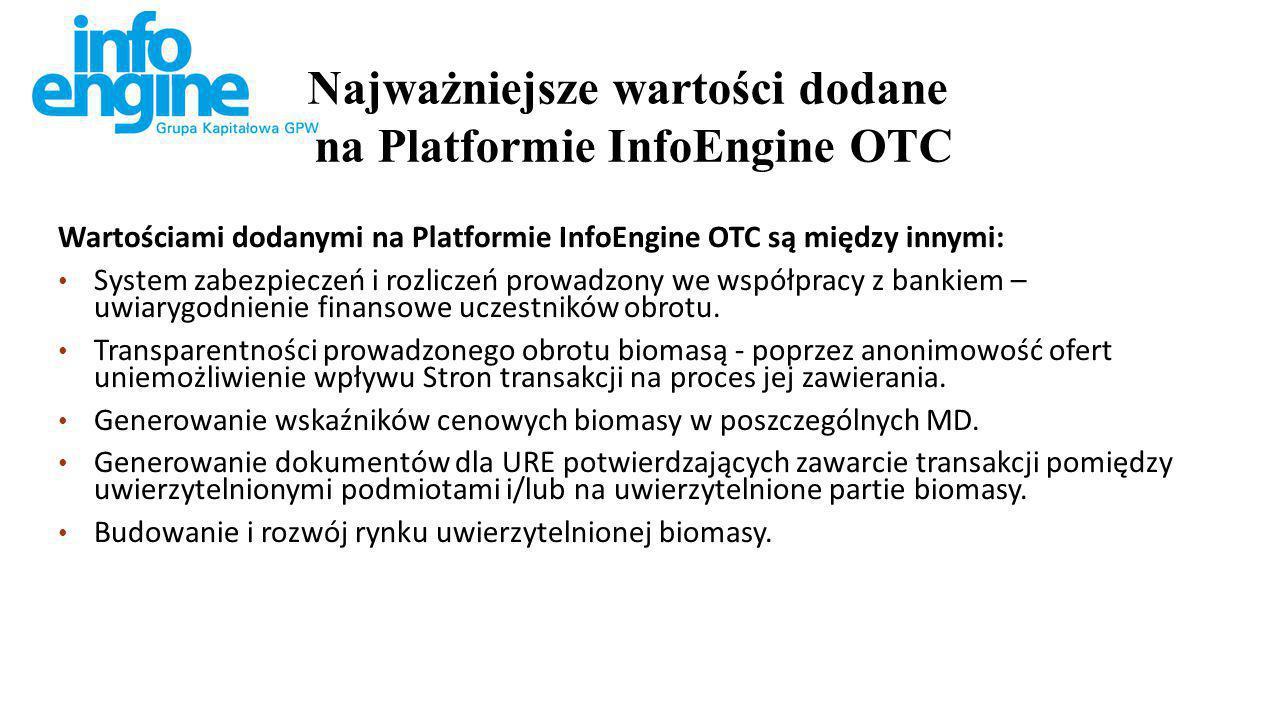 Wartościami dodanymi na Platformie InfoEngine OTC są między innymi: System zabezpieczeń i rozliczeń prowadzony we współpracy z bankiem – uwiarygodnienie finansowe uczestników obrotu.