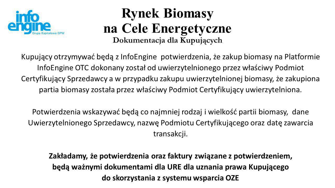 Rynek Biomasy na Cele Energetyczne Model nie narusza praw i zakresu działań URE Zakładamy, że URE może uznać biomasę za spełniającą warunki skorzystania z systemu wsparcia OZE na podstawie otrzymanego przez Kupującego Potwierdzenia.
