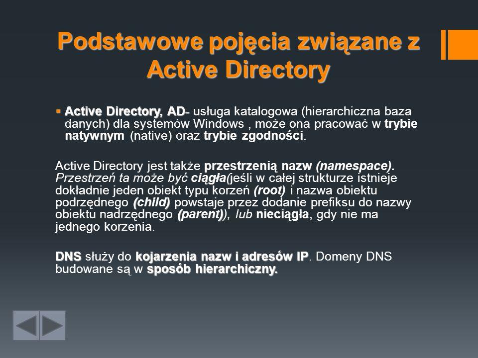 Podstawowe pojęcia związane z Active Directory  Active Directory, AD -  Active Directory, AD - usługa katalogowa (hierarchiczna baza danych) dla systemów Windows, może ona pracować w trybie natywnym (native) oraz trybie zgodności.