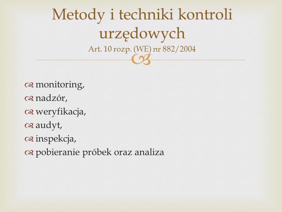   monitoring,  nadzór,  weryfikacja,  audyt,  inspekcja,  pobieranie próbek oraz analiza Metody i techniki kontroli urzędowych Art. 10 rozp. (W