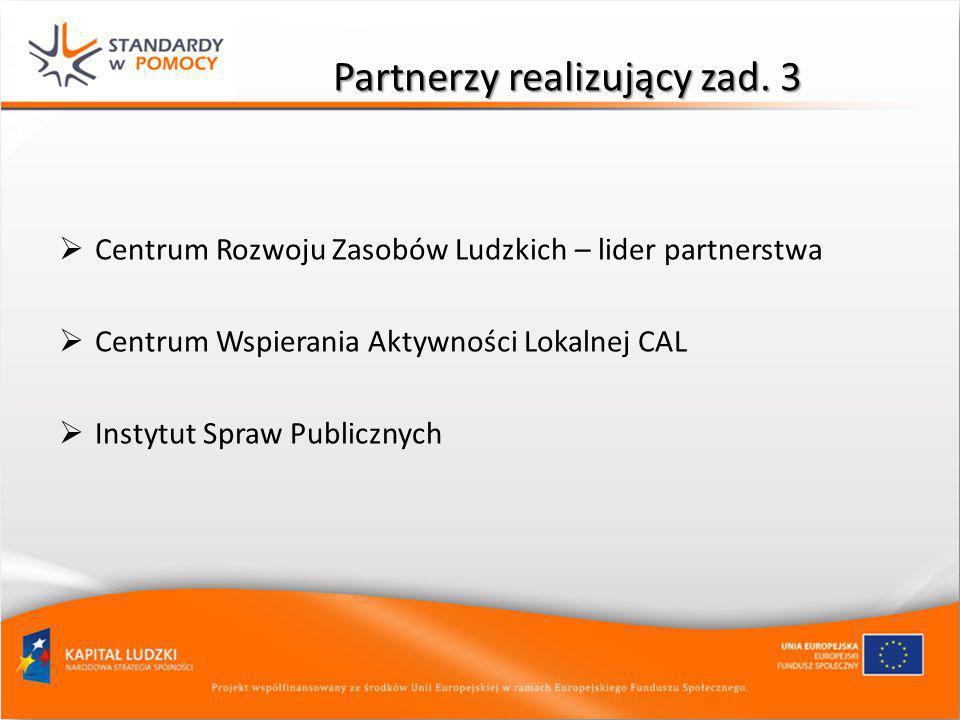 Partnerzy realizujący zad. 3  Centrum Rozwoju Zasobów Ludzkich – lider partnerstwa  Centrum Wspierania Aktywności Lokalnej CAL  Instytut Spraw Publ