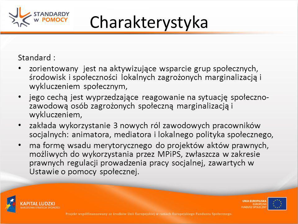Charakterystyka Standard : zorientowany jest na aktywizujące wsparcie grup społecznych, środowisk i społeczności lokalnych zagrożonych marginalizacją