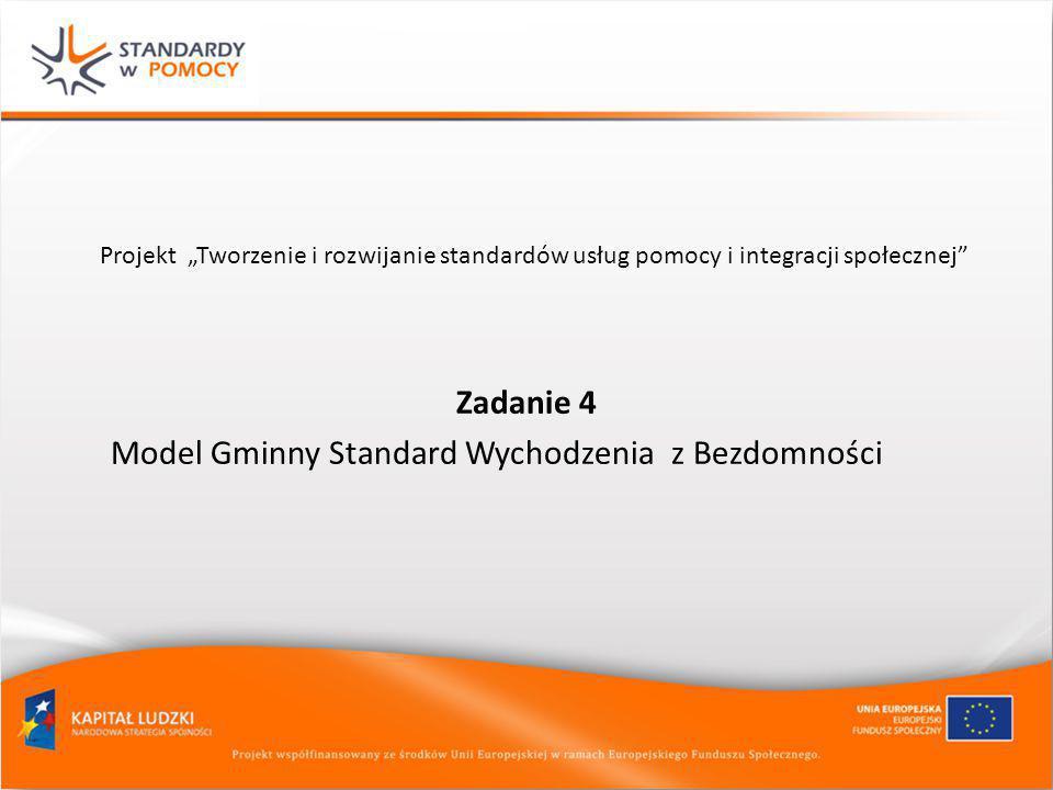 """Projekt """"Tworzenie i rozwijanie standardów usług pomocy i integracji społecznej"""" Zadanie 4 Model Gminny Standard Wychodzenia z Bezdomności"""