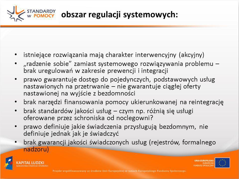 """obszar regulacji systemowych: istniejące rozwiązania mają charakter interwencyjny (akcyjny) """"radzenie sobie"""" zamiast systemowego rozwiązywania problem"""