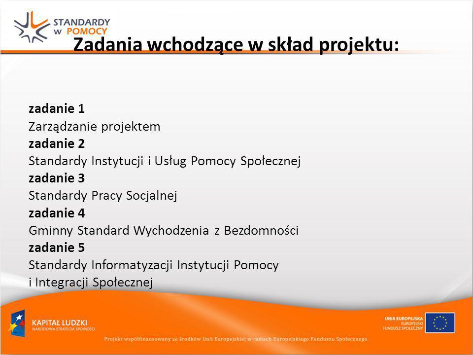 Zadania wchodzące w skład projektu: zadanie 1 Zarządzanie projektem zadanie 2 Standardy Instytucji i Usług Pomocy Społecznej zadanie 3 Standardy Pracy