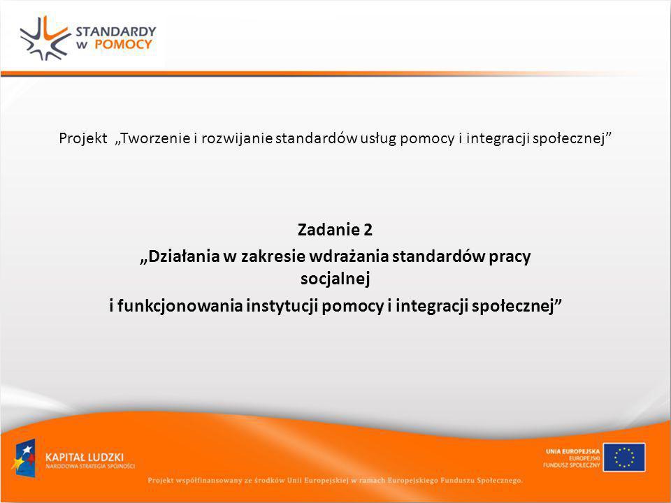 """Projekt """"Tworzenie i rozwijanie standardów usług pomocy i integracji społecznej"""" Zadanie 2 """"Działania w zakresie wdrażania standardów pracy socjalnej"""