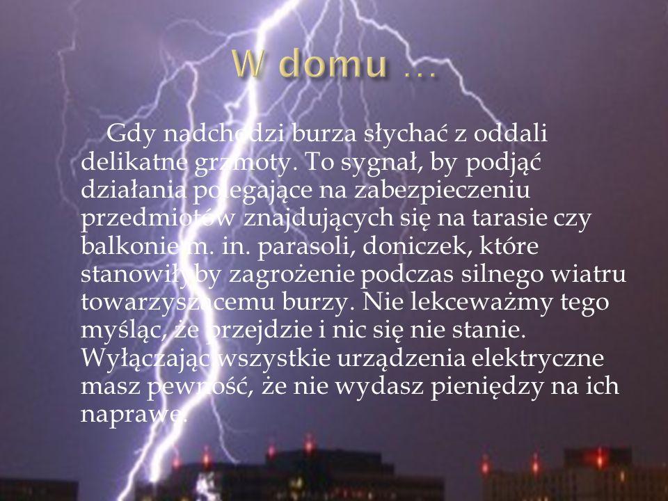 Gdy nadchodzi burza słychać z oddali delikatne grzmoty. To sygnał, by podjąć działania polegające na zabezpieczeniu przedmiotów znajdujących się na ta