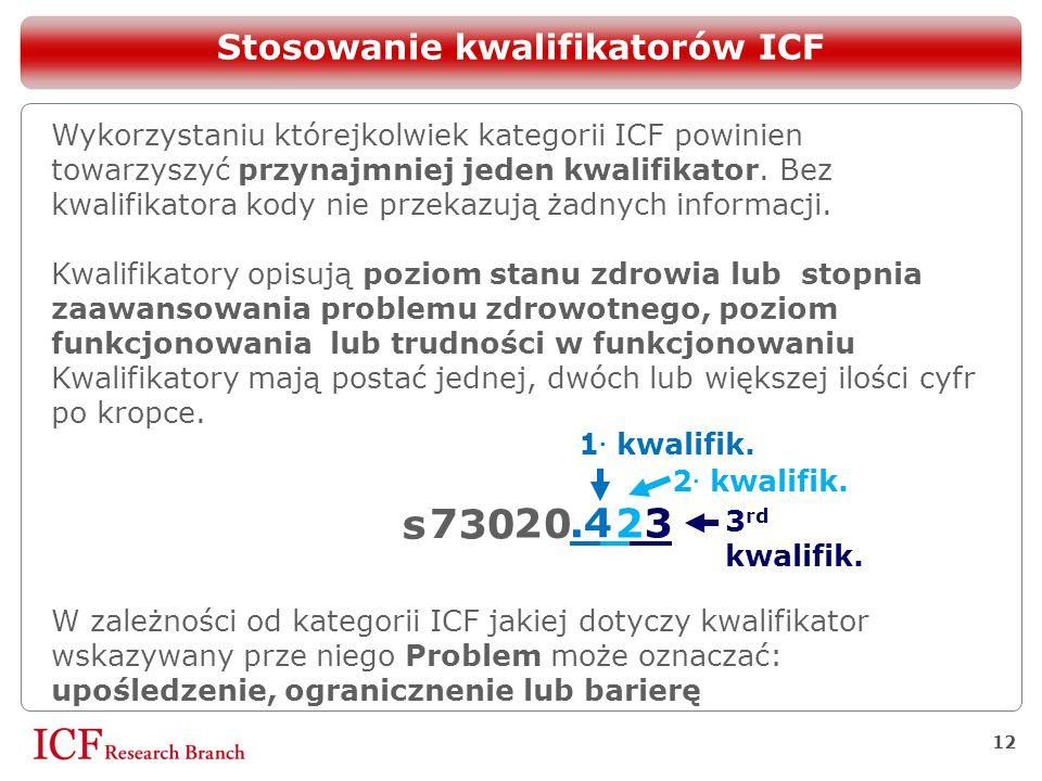 Stosowanie kwalifikatorów ICF 12 Wykorzystaniu którejkolwiek kategorii ICF powinien towarzyszyć przynajmniej jeden kwalifikator. Bez kwalifikatora kod