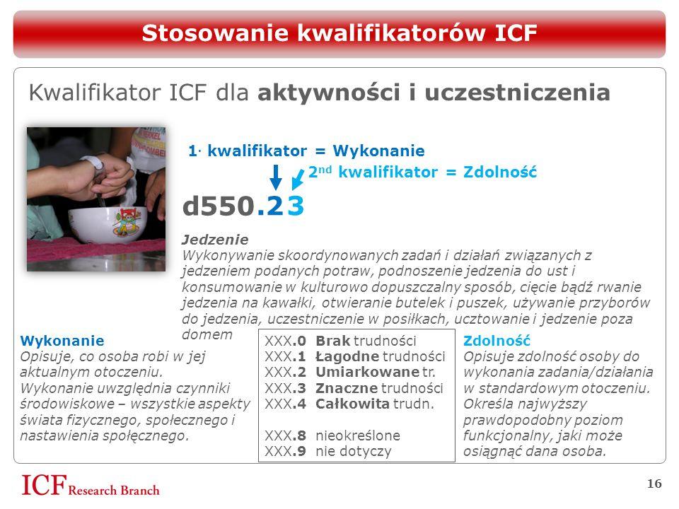 16 d 50 5 Stosowanie kwalifikatorów ICF Kwalifikator ICF dla aktywności i uczestniczenia 1. kwalifikator = Wykonanie.2 Wykonanie Opisuje, co osoba rob