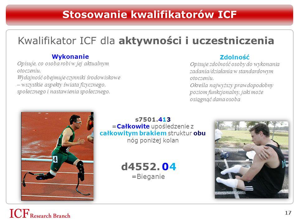 17 Stosowanie kwalifikatorów ICF Kwalifikator ICF dla aktywności i uczestniczenia Wykonanie Opisuje, co osoba robi w jej aktualnym otoczeniu. Wydajnoś