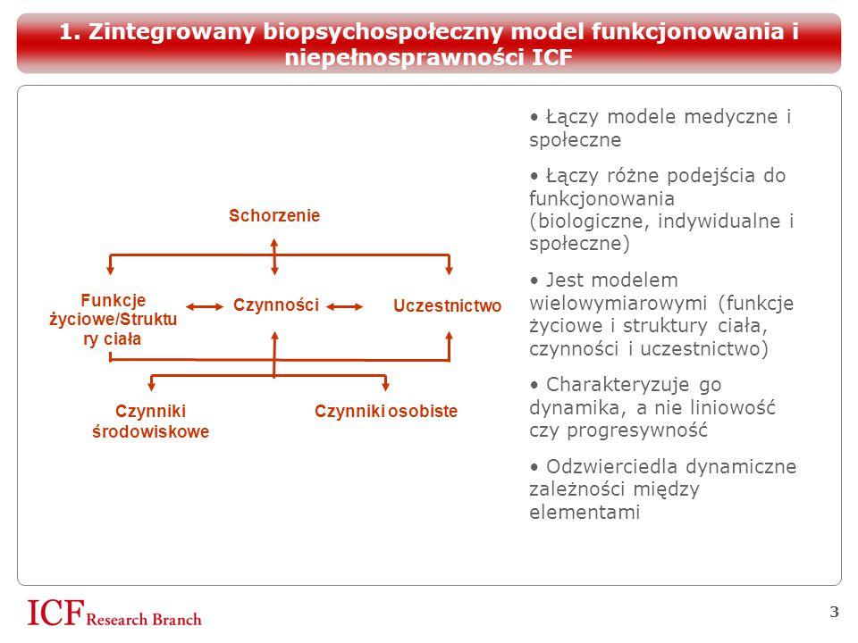 3 Łączy modele medyczne i społeczne Łączy różne podejścia do funkcjonowania (biologiczne, indywidualne i społeczne)  Jest modelem wielowymiarowymi (f