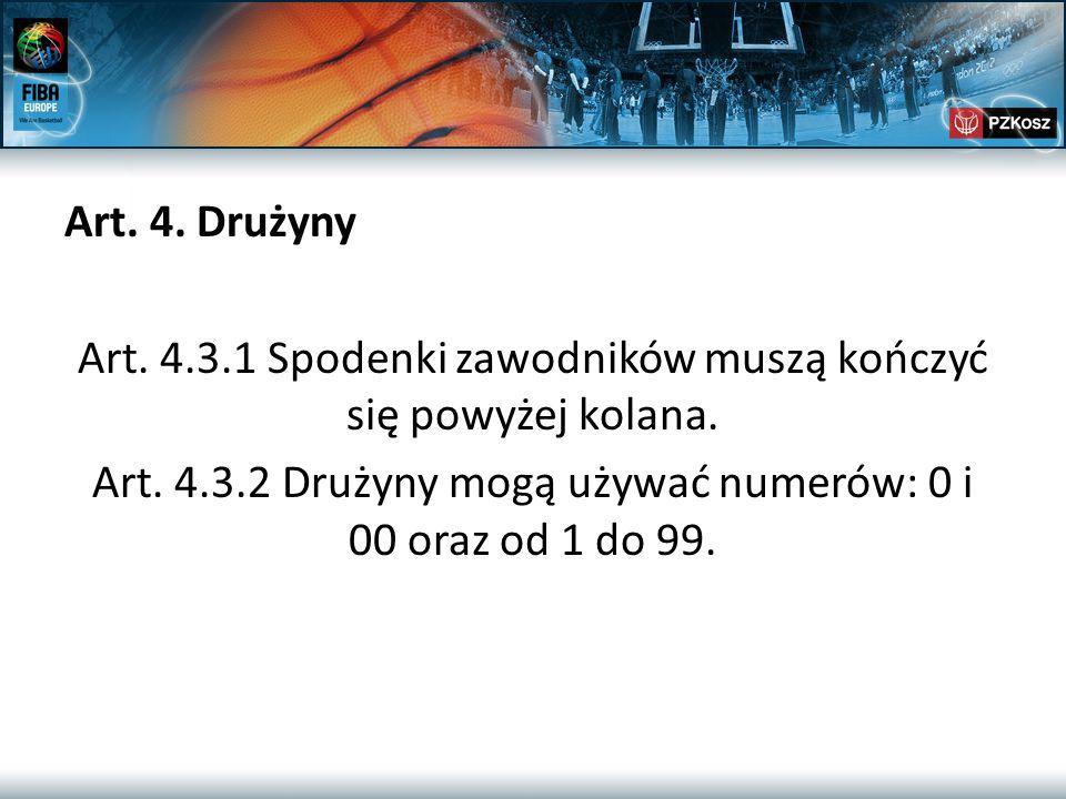 Art. 4. Drużyny Art. 4.3.1 Spodenki zawodników muszą kończyć się powyżej kolana. Art. 4.3.2 Drużyny mogą używać numerów: 0 i 00 oraz od 1 do 99.