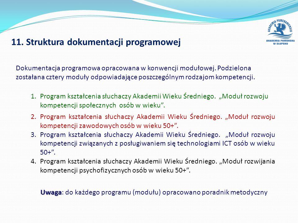 """11. Struktura dokumentacji programowej 1.Program kształcenia słuchaczy Akademii Wieku Średniego. """"Moduł rozwoju kompetencji społecznych osób w wieku""""."""
