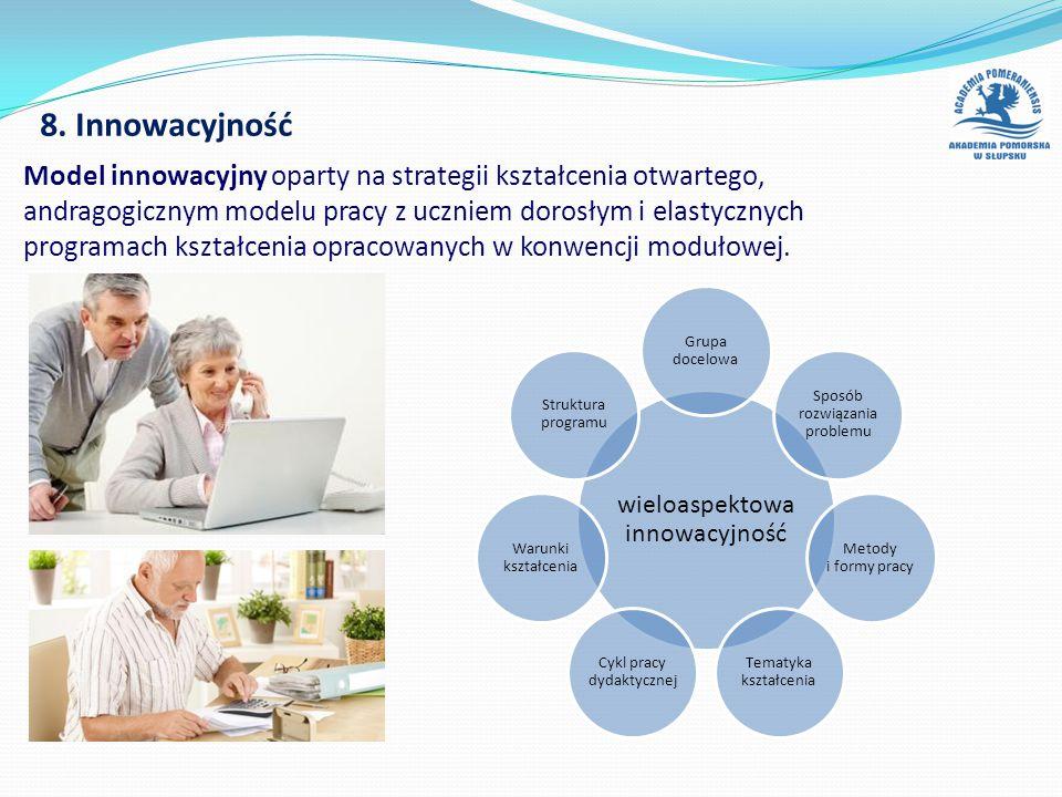 8. Innowacyjność wieloaspektowa innowacyjność Grupa docelowa Sposób rozwiązania problemu Metody i formy pracy Tematyka kształcenia Cykl pracy dydaktyc
