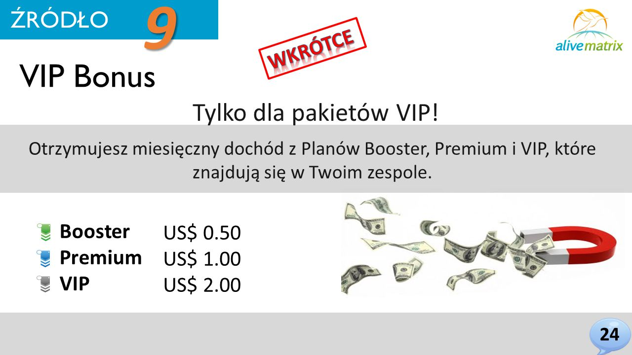 VIP Bonus Tylko dla pakietów VIP.