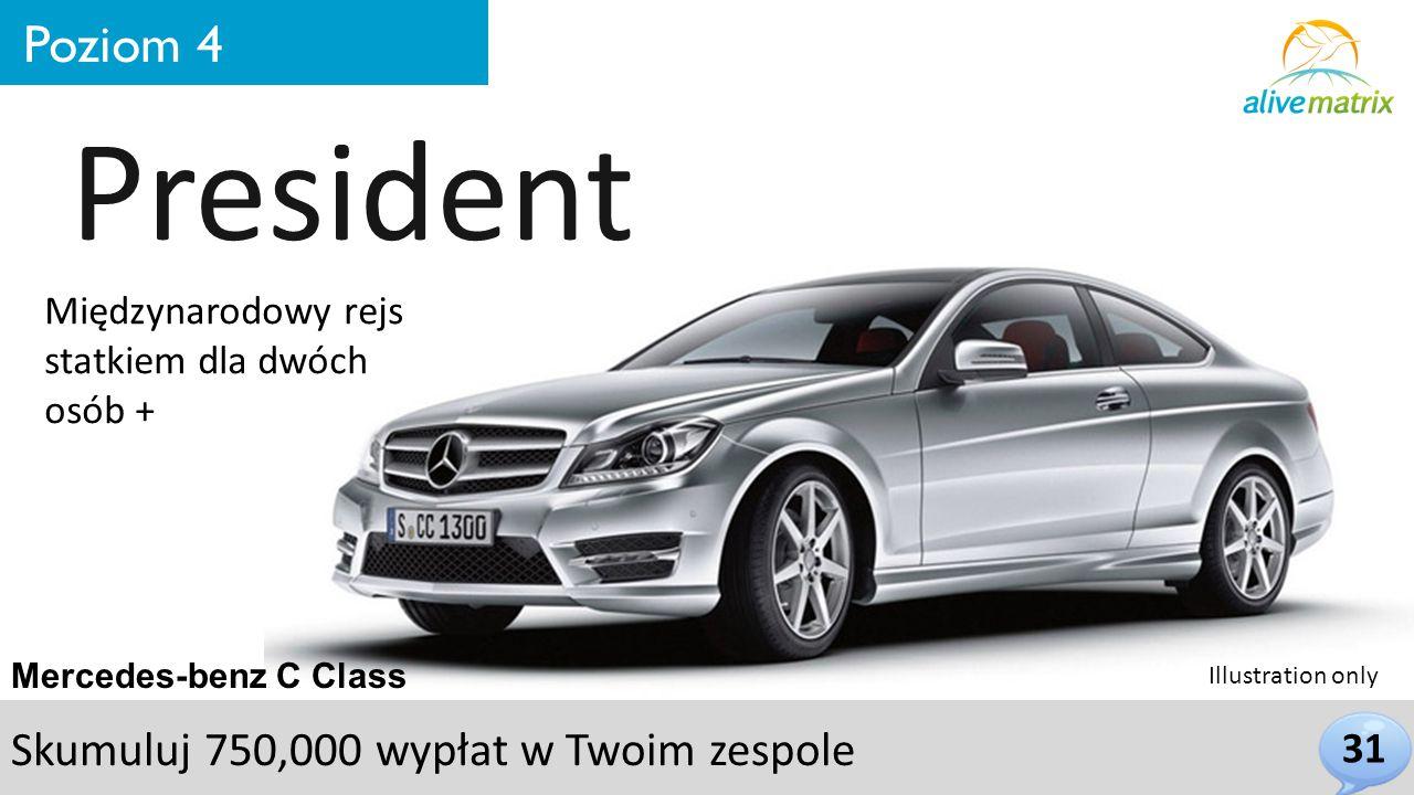 31 Poziom 4 President Mercedes-benz C Class Międzynarodowy rejs statkiem dla dwóch osób + Skumuluj 750,000 wypłat w Twoim zespole Illustration only
