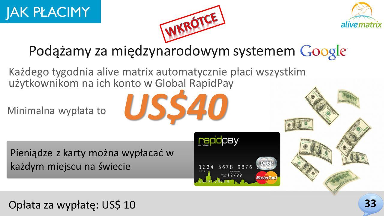 JAK PŁACIMY Minimalna wypłata to Każdego tygodnia alive matrix automatycznie płaci wszystkim użytkownikom na ich konto w Global RapidPay Pieniądze z karty można wypłacać w każdym miejscu na świecie US$40 Opłata za wypłatę: US$ 10 Podążamy za międzynarodowym systemem 33