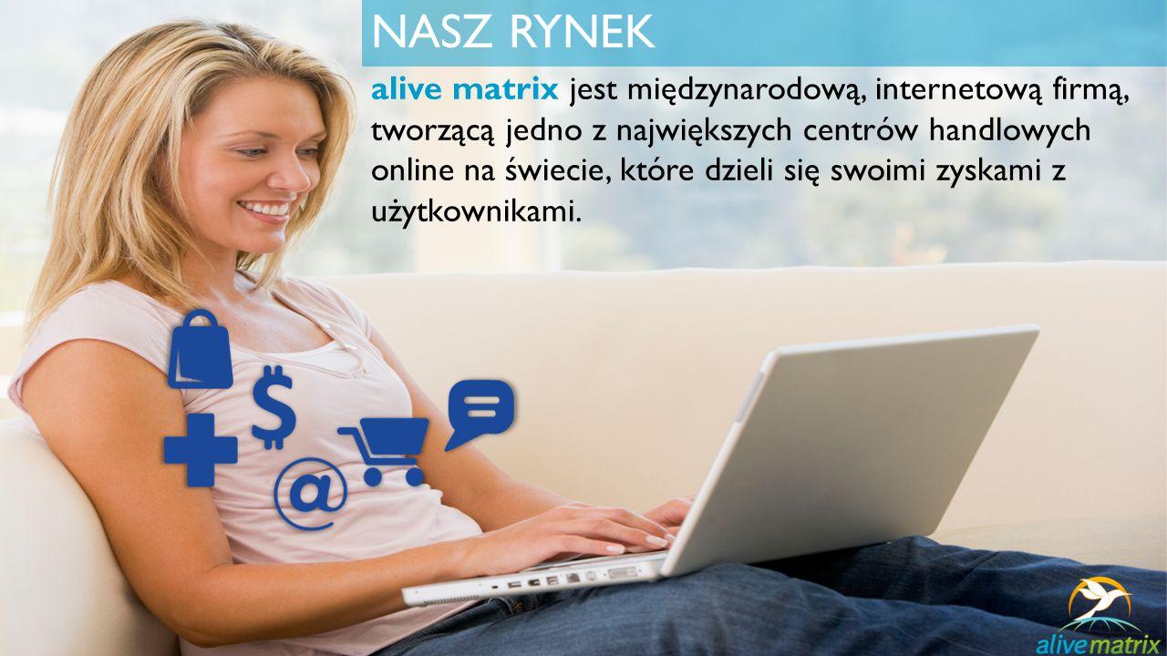 NASZ RYNEK alive matrix jest międzynarodową, internetową firmą, tworzącą jedno z największych centrów handlowych online na świecie, które dzieli się swoimi zyskami z użytkownikami.