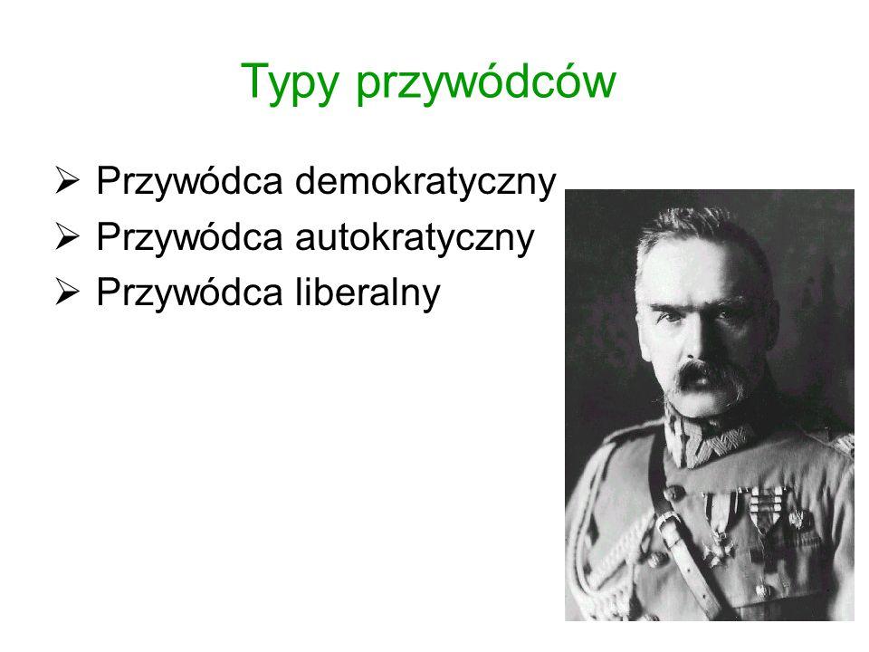 Typy przywódców  Przywódca demokratyczny  Przywódca autokratyczny  Przywódca liberalny