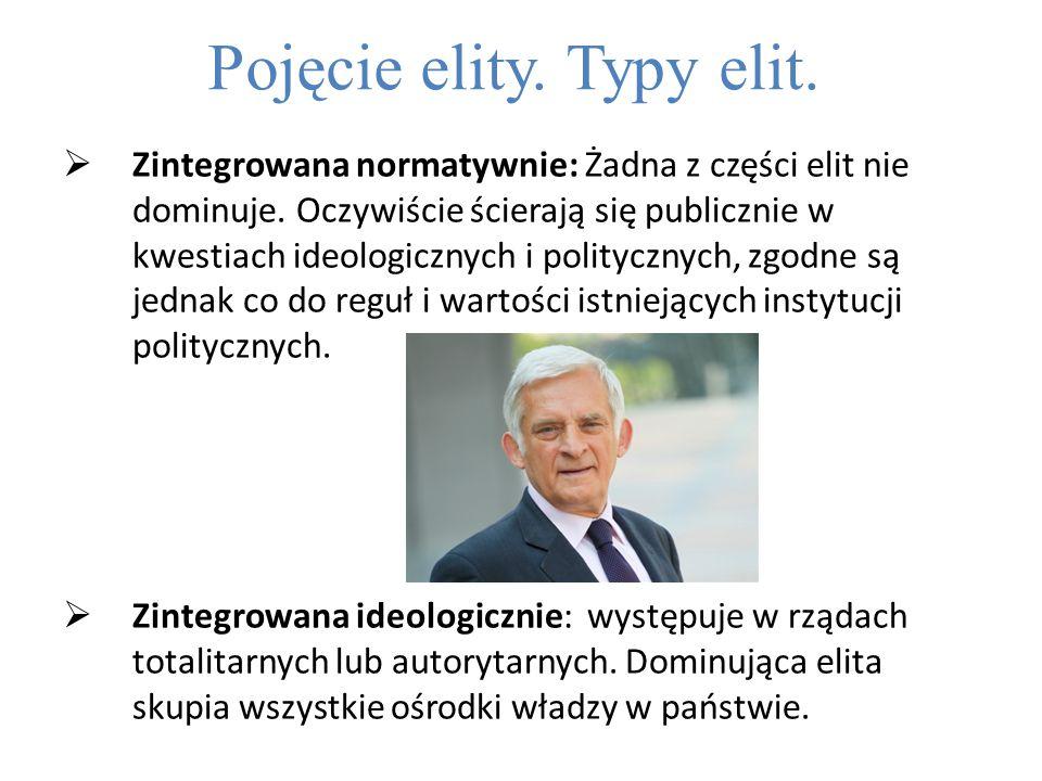 Pojęcie elity.Typy elit.  Zintegrowana normatywnie: Żadna z części elit nie dominuje.