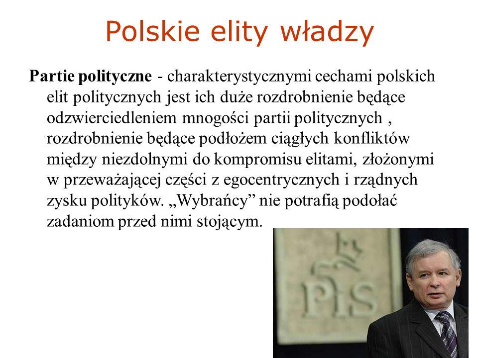 Polskie elity władzy Partie polityczne - charakterystycznymi cechami polskich elit politycznych jest ich duże rozdrobnienie będące odzwierciedleniem mnogości partii politycznych, rozdrobnienie będące podłożem ciągłych konfliktów między niezdolnymi do kompromisu elitami, złożonymi w przeważającej części z egocentrycznych i rządnych zysku polityków.
