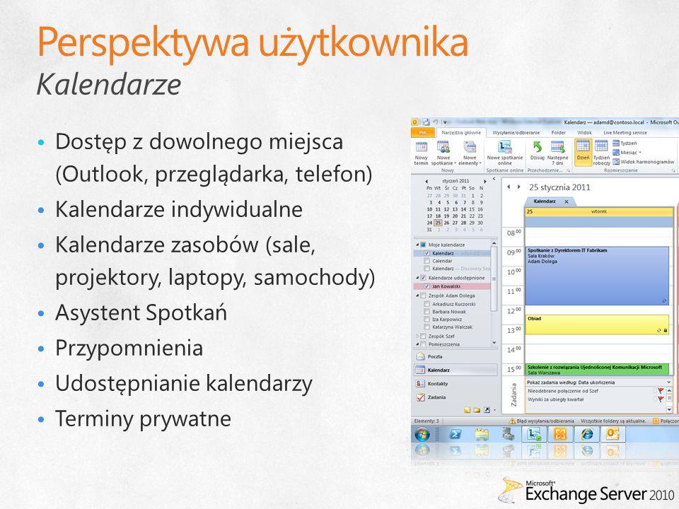Kalendarze Dostęp z dowolnego miejsca (Outlook, przeglądarka, telefon) Kalendarze indywidualne Kalendarze zasobów (sale, projektory, laptopy, samochod