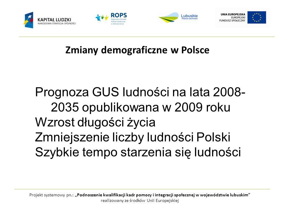 """Projekt systemowy pn.: """"Podnoszenie kwalifikacji kadr pomocy i integracji społecznej w województwie lubuskim realizowany ze środków Unii Europejskiej Zmiany demograficzne w Polsce Prognoza GUS ludności na lata 2008- 2035 opublikowana w 2009 roku Wzrost długości życia Zmniejszenie liczby ludności Polski Szybkie tempo starzenia się ludności"""