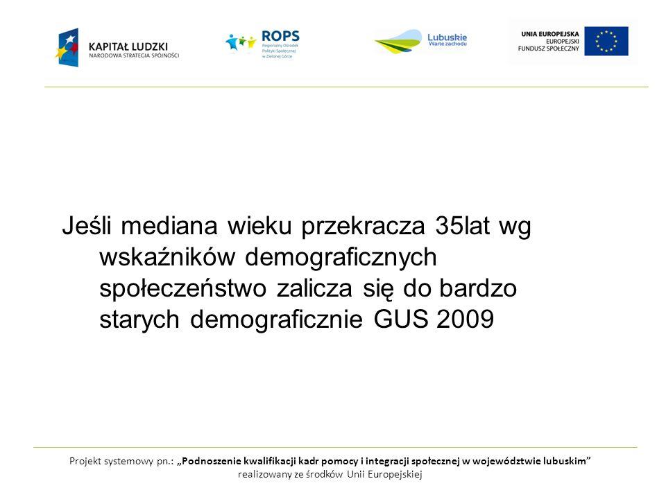 """Projekt systemowy pn.: """"Podnoszenie kwalifikacji kadr pomocy i integracji społecznej w województwie lubuskim realizowany ze środków Unii Europejskiej W ciągu kolejnych 50 lat z kraju stosunkowo młodego Polska stanie się krajem, w którym udział osób powyżej 65 roku życia może sięgnąć nawet 35%"""