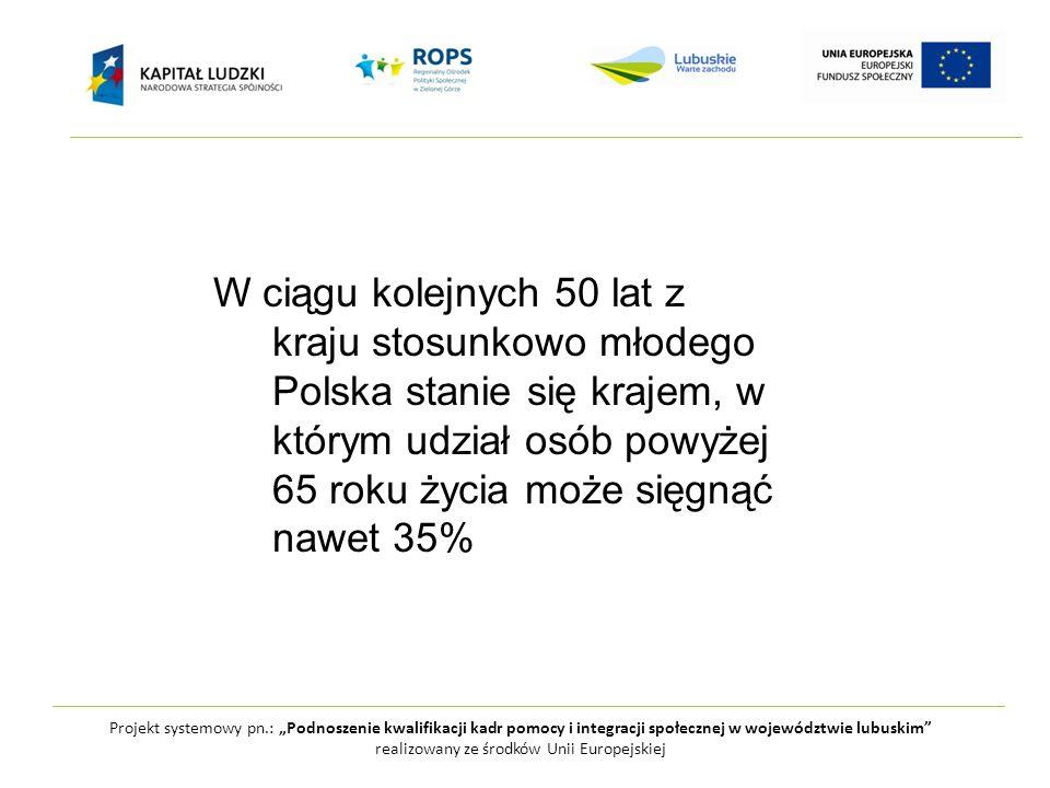 """Projekt systemowy pn.: """"Podnoszenie kwalifikacji kadr pomocy i integracji społecznej w województwie lubuskim realizowany ze środków Unii Europejskiej I.Faza trzeci wiek """"młodzi starzy II.Faza Późna starość czwarty wiek """"starzy starzy"""